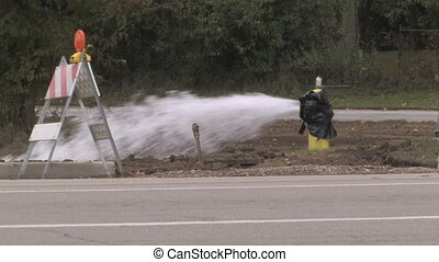 Fire Hydrant Spraying - Water gushing out of an open fire...