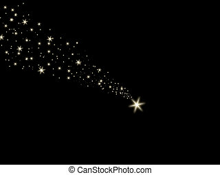 Falling star on the night sky black - Illustration content...