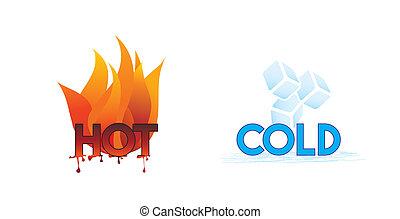 quentes, gelado, ou, fogo, gelo, ícones