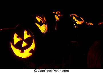 Happy Jack-O-Lanterns Carved For Halloween - Happy...