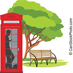 Telephone box in the park. Vector illustration