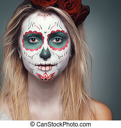 girl with a skull face makeup - beautiful girl with a skull...