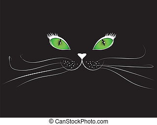 Cartoon cat face in black - Green eyed cartoon cat face on...