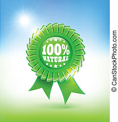 natural green label 100% - 100% natural green label in blue...