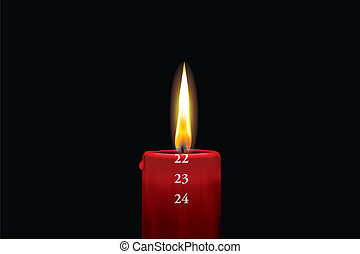 Red advent candle - december 22nd - Realistic vector...