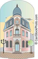 Building with dome - vector file of a vintage building, Eps...