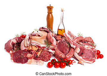 Raw Meat - Raw meat mix: steaks, poultry, sausages, ham,...