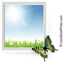 Illustration of green grass with a butterfly