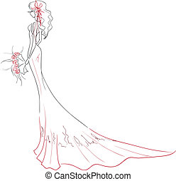 Elegant bride with bouquet - Vector illustration The young...