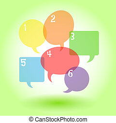 Transparent speech bubbles with numbers