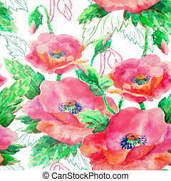 watercolour seamless pattern with poppy flowers