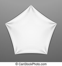 White stretched pentagonal shape w