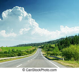 road in mountain Ukrainian Carpathians