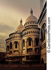 sacred heart - Paris France - - vintage picture of the...