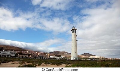 Lighthouse in Fuerteventura - Lighthouse at the coast of...