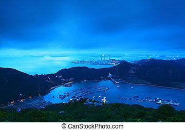 paisaje, encima, ocaso, mar, montañas