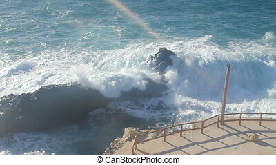 Big waves chrushing on Canary Island Fuerteventura.