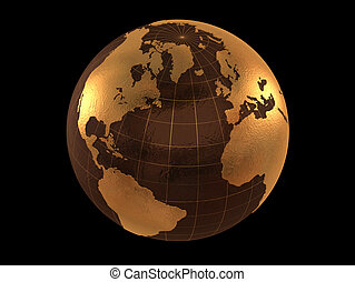 golden globe isolated on black background