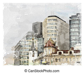 watercolor illustration of city scape