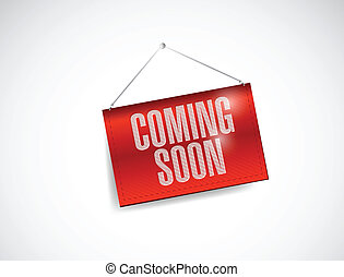 coming soon hanging banner illustration design over white