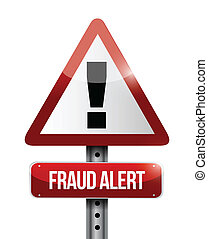 warning fraud alert road sign illustration design over white