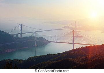 Sunset at Ting Kau Bridge, view from Tsuen Wan, Hong Kong