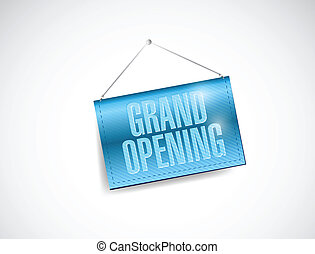 grand opening hanging banner illustration design over white