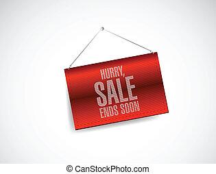 hurry, sale ends soon hanging banner illustration design...