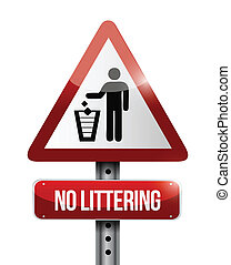 no littering road sign illustration design
