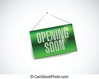 opening soon hanging banner illustration design over white