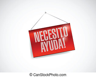 need help in spanish hanging banner illustration design over...