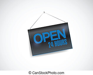 open 24 hours hanging banner illustration design over white