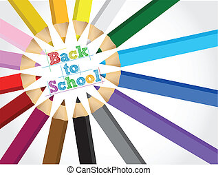 back to school colors set illustration design over white