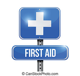 first aid road sign illustration design over white