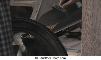 Grinding Corn Close-Up - Close up of corn being poured into...
