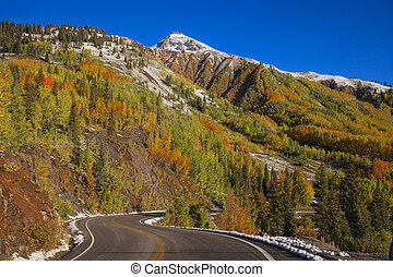 Autumn in the Colorado Mountains - a colorful fall scenic in...