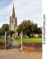 Flint church in Woolpit Suffolk - Old Church of England...