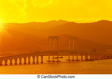 bridge at sunset, macau