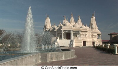 Hindu Temple and Fountain - Static shot of a large Hindu...