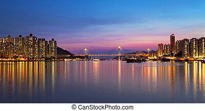 sunset at downtown city, tsuen wan - sunset at downtown...