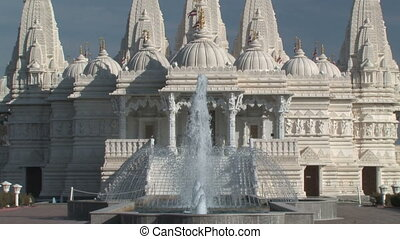 Hindu Temple Zoom-Out - Zooming out on an elaborately...