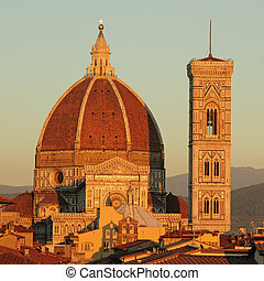 spectacular view of cathedral of Florence in sunset light,...