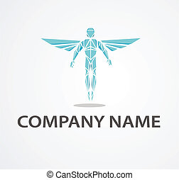 Logo with chiropractor - Logo with blue shining chiropractor...