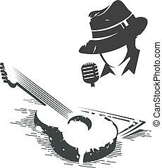 llustration of singer and guitar - Vector black and white...