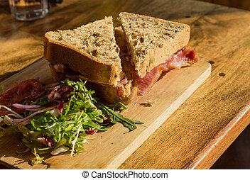 Thick wholemeal bread bacon sandwich - Bacon sandwich on...