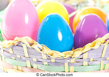 Closeup of Easter Eggs in Basket