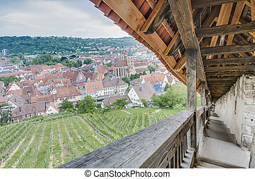 Esslingen am Neckar views from Castle stairs, Germany -...
