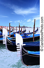 Gondolas near Saint Mark square, Venice, Italy