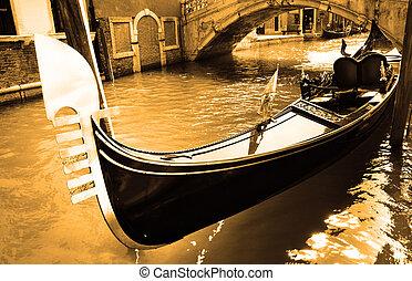Gondola - Narrow canal with gondola in Venice, Italy