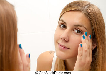 Woman in the bathroom - Beauty and health of young woman in...